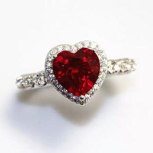 925 Sterling Silver Diamond Ruby Heart Ring Sz 7
